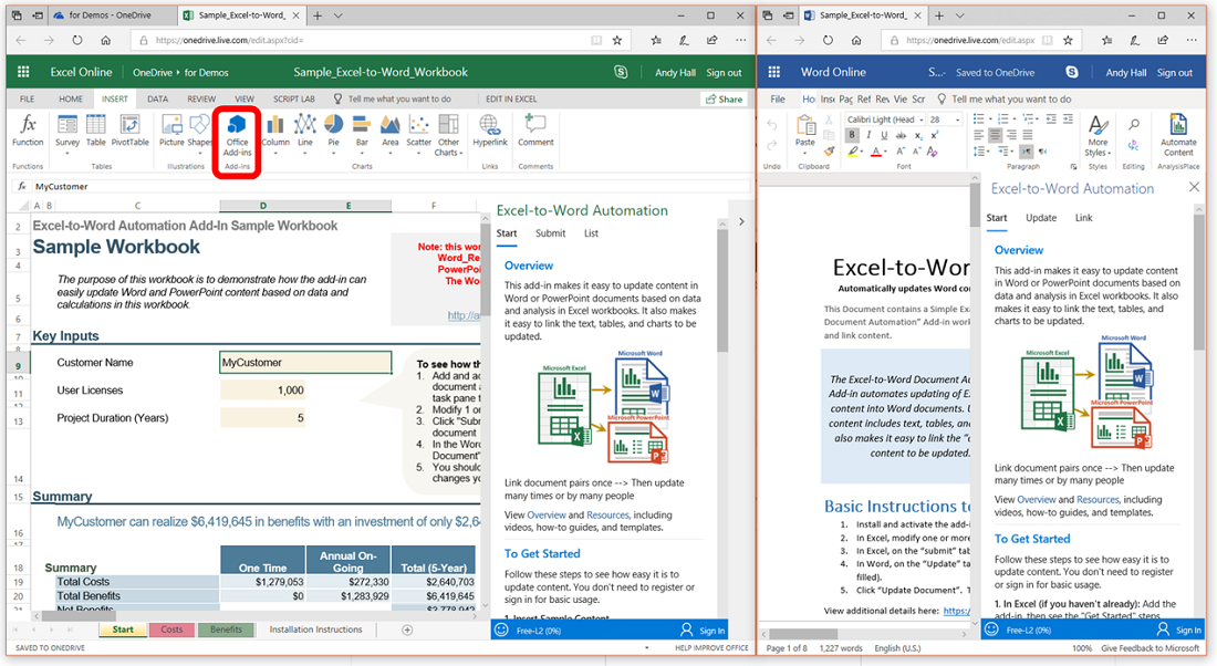 Excel Online and Word Online