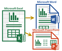 Excel to Word or PowerPoint Logo